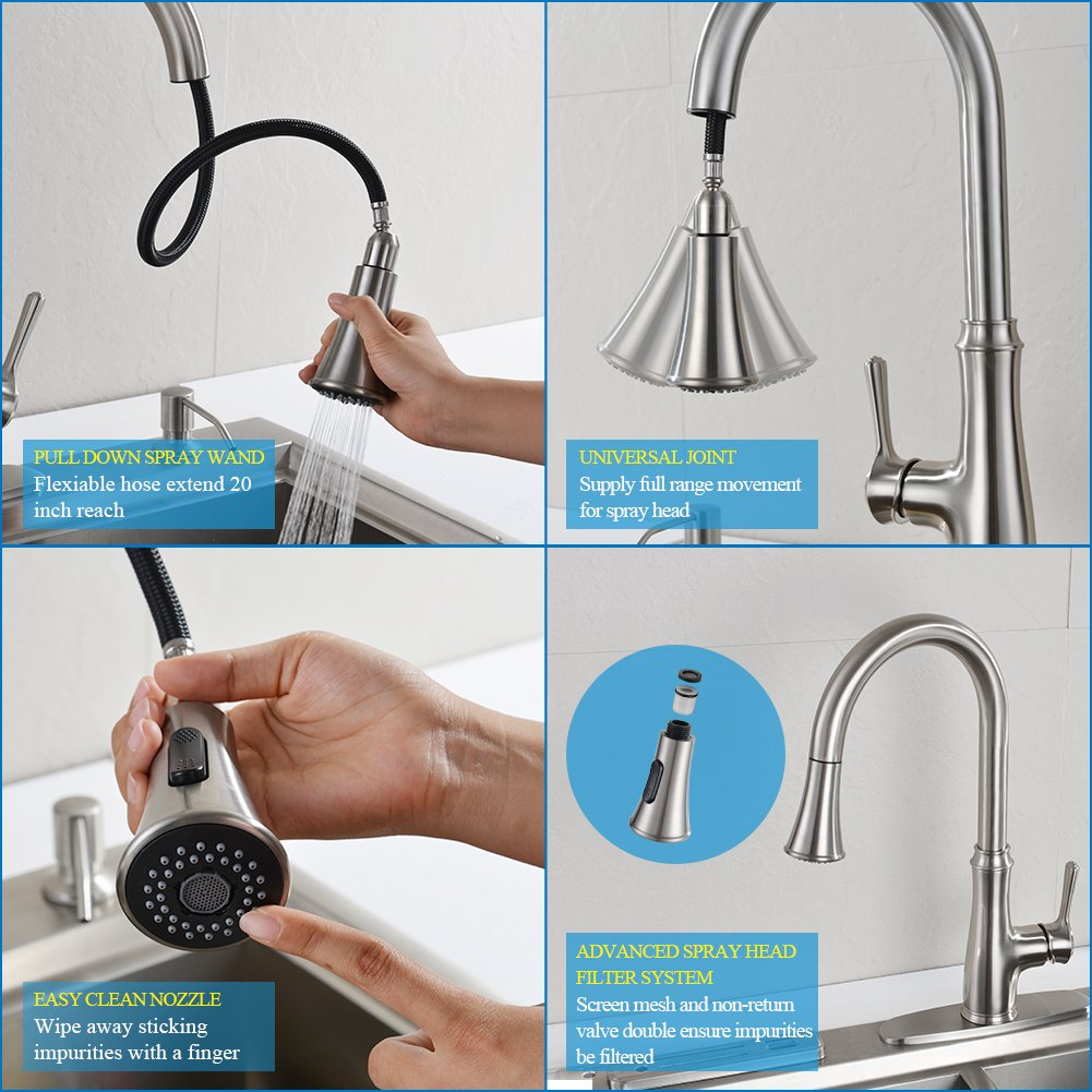 Kitchen Faucet Pull Down Sprayer – WEWE A1008L Stainless Steel Sink ...