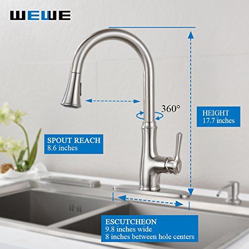 Kitchen-Faucet-Pull-Down-Sprayer-WEWE-A1008L-2017-New-Design-Stainless-Steel-Sink-Faucets-Single-Handle-High-Arc-Brushed-Nickel-Faucet-with-Pull-Out-Sprayer-0-0