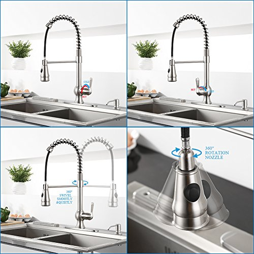 Kitchen-Faucet-with-Sprayer-WEWE-A1003L-Single-Handle-Brushed-Nickel-Pull-Out-Kitchen-FaucetStainless-Steel-High-Arc-Spring-Kitchen-Sink-Faucets-with-Pull-Down-Sprayer-For-1-or-3-Hole-Kitchen-Sink-0-3