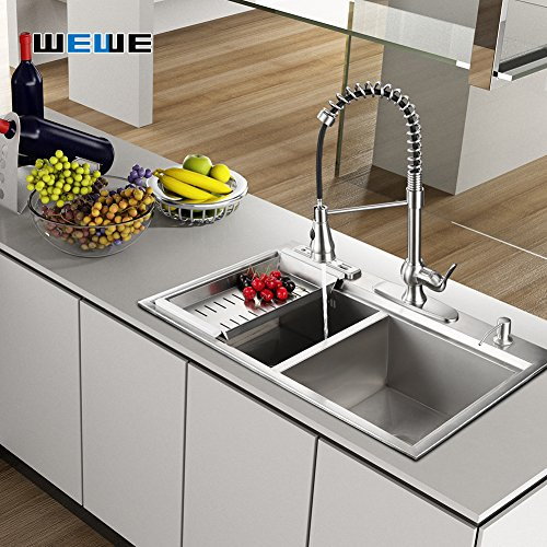 Kitchen-Faucet-with-Sprayer-WEWE-A1003L-Single-Handle-Brushed-Nickel-Pull-Out-Kitchen-FaucetStainless-Steel-High-Arc-Spring-Kitchen-Sink-Faucets-with-Pull-Down-Sprayer-For-1-or-3-Hole-Kitchen-Sink-0-5