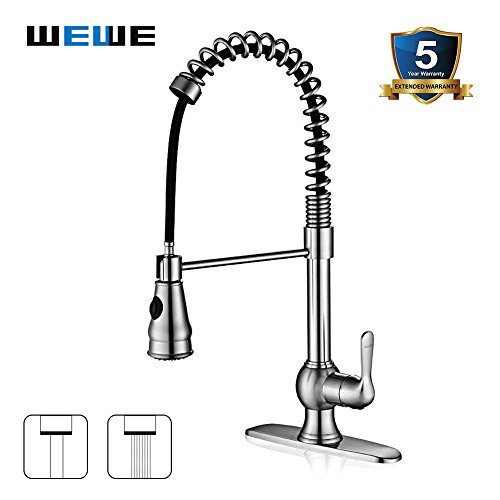 Kitchen-Faucet-with-Sprayer-WEWE-A1003L-Single-Handle-Brushed-Nickel-Pull-Out-Kitchen-FaucetStainless-Steel-High-Arc-Spring-Kitchen-Sink-Faucets-with-Pull-Down-Sprayer-For-1-or-3-Hole-Kitchen-Sink-0