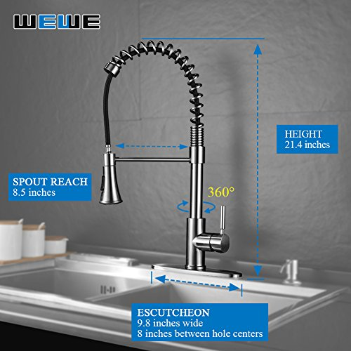 Kitchen-Faucets-with-Pull-Down-Sprayer-WEWE-A1002LU-2017-Commercial-Single-Handle-Pull-Out-Kitchen-Faucet-Brushed-Nickel-Modern-High-Arc-Spring-Stainless-Steel-Kitchen-Sink-Faucets-with-Escutcheon-0-0