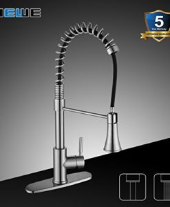 Kitchen-Faucets-with-Pull-Down-Sprayer-WEWE-A1002LU-2017-Commercial-Single-Handle-Pull-Out-Kitchen-Faucet-Brushed-Nickel-Modern-High-Arc-Spring-Stainless-Steel-Kitchen-Sink-Faucets-with-Escutcheon-0