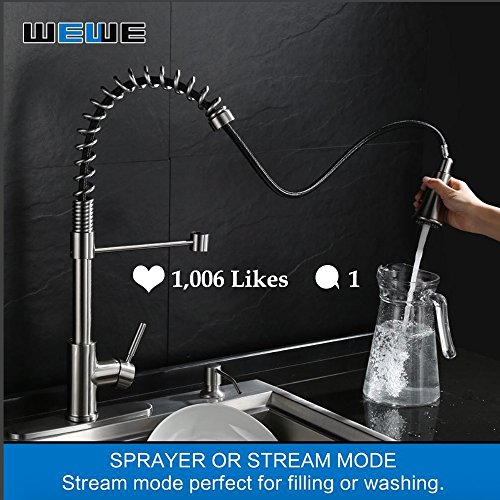 Kitchen-Faucets-with-Pull-Down-Sprayer-WEWE-A1002LU-2017-Commercial-Single-Handle-Pull-Out-Kitchen-Faucet-Brushed-Nickel-Modern-High-Arc-Spring-Stainless-Steel-Kitchen-Sink-Faucets-with-Escutcheon-0-4