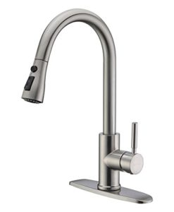 WEWE-Single-Handle-High-Arc-Brushed-Nickel-Pull-out-Kitchen-FaucetSingle-Level-Stainless-Steel-Kitchen-Sink-Faucets-with-Pull-down-Sprayer-0